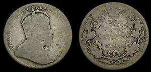 1903-Canada-Silver-Quarter-25-Cents-G-3-Edward-VII