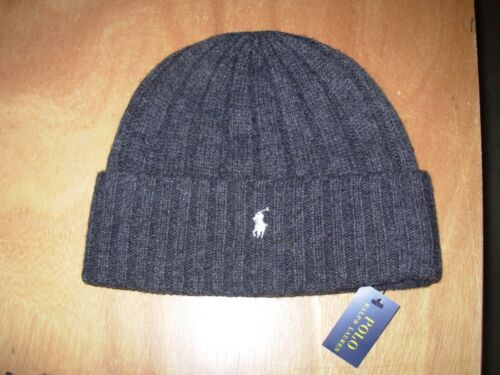 8fc5e99bb15 Polo Ralph Lauren Wide-rib Beanie Skull Cap Hat Charcoal W white Pony 1  Size for sale online