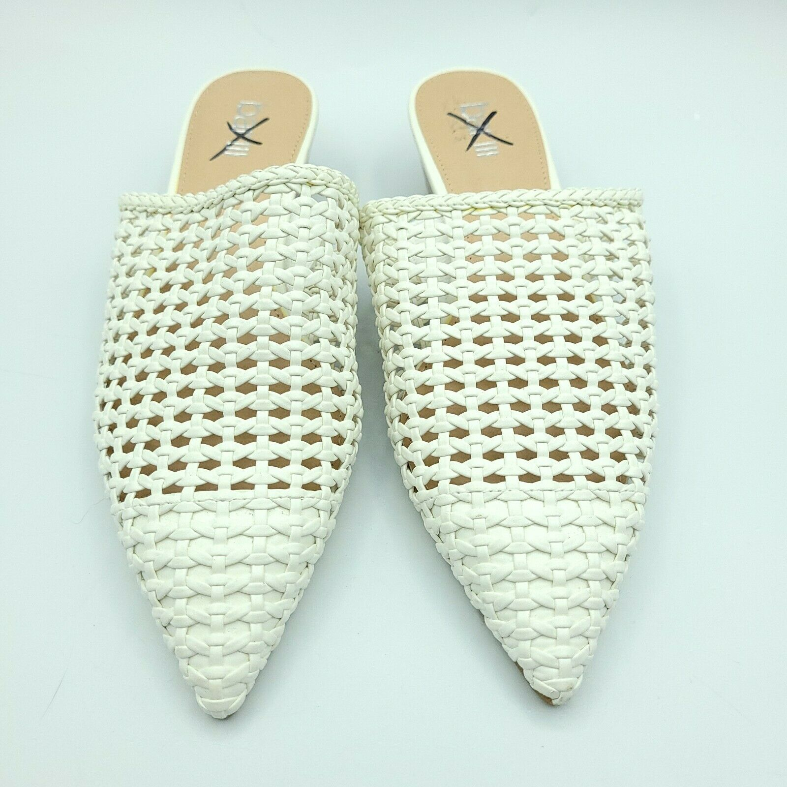 Bar III Kayci Woven Mules White Pointed Toe Womens Size 6
