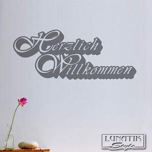 wandtattoo wandaufkleber herzlich willkommen schriftzug ws27 ebay. Black Bedroom Furniture Sets. Home Design Ideas