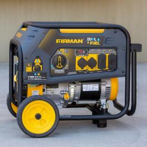 Firman 7,125-W Portable Hybrid Dual Fuel Powered Generator with Electric Start