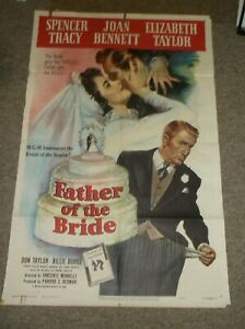 FATHER OF THER BRIDE(1950)ELIZABETH TAYLOR SPENCER TRACY ORIG ONE SHEET POSTER