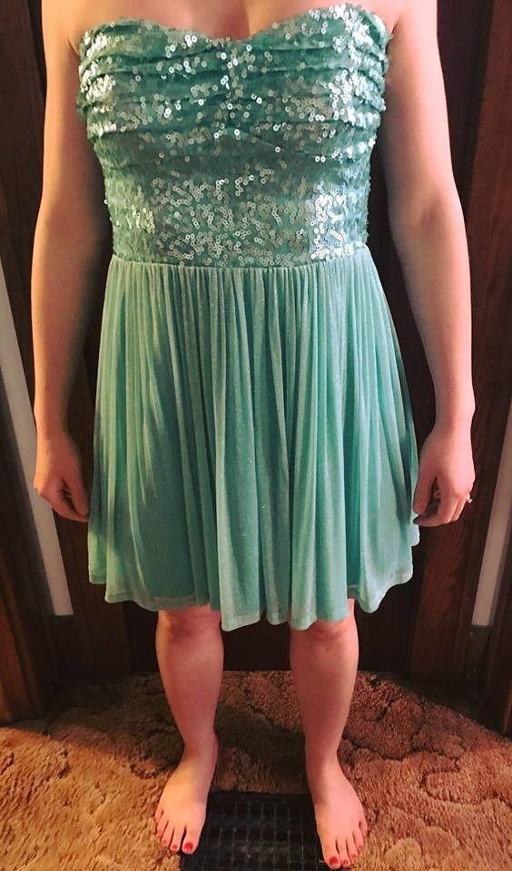 Sparkly Sequin Mint color Deb Dress Zip-up Size  7