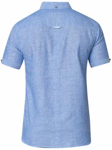 100105 D555 DUKE MENS LINEN SHIRT COTTON SHORT SLEEVE BLUE S M L XL XXL