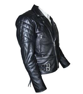 Mens Biker Vintage Classic Brando Motorcycle Black Leather Jacket BNWT