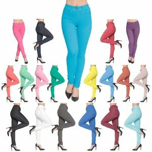 Women-039-s-Ladies-Jeggings-Skinny-Fit-Coloured-Stretchy-Jeans
