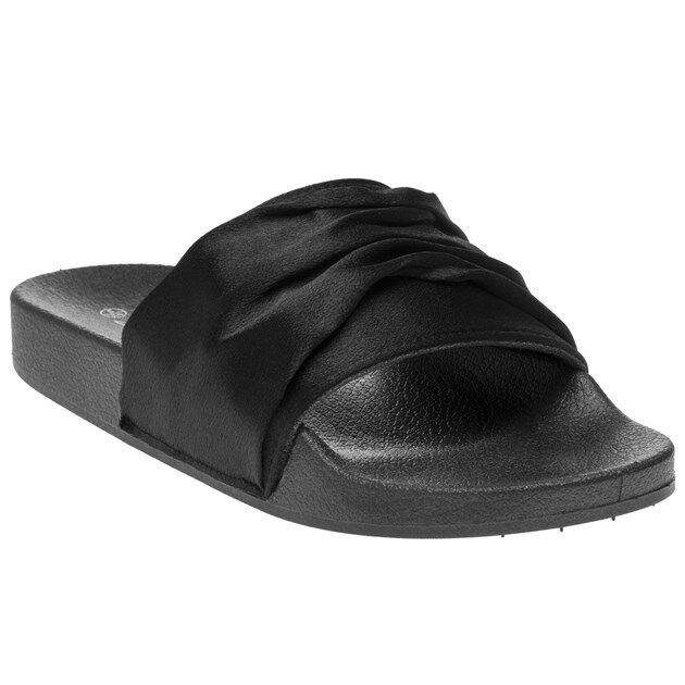 New Womens SOLESISTER Black Erin On Textile Sandals Flats Slip On Erin ea2469