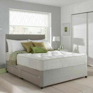 DESIGN HEADBOARD NEW GREY 4FT6 DOUBLE STORAGE DIVAN BED BASE 5FT KING