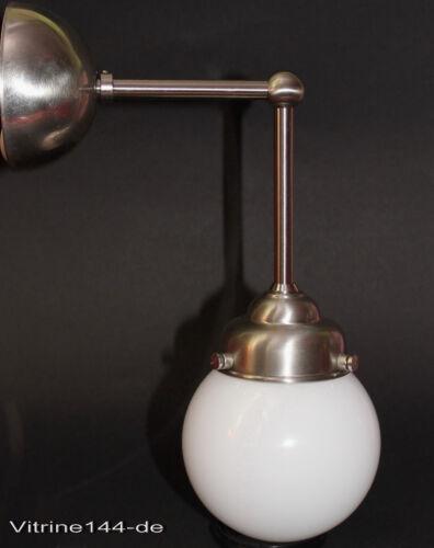 Wandlampe Leuchte Bauhaus Industriedesign Kugelglas Wandarm Messing vernickelt