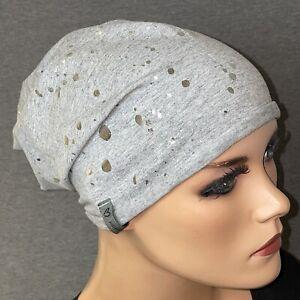 Chemo, MÜTZE//BEANIE Jersey taupe grau  ideal bei Chemotherapie Chemomütze