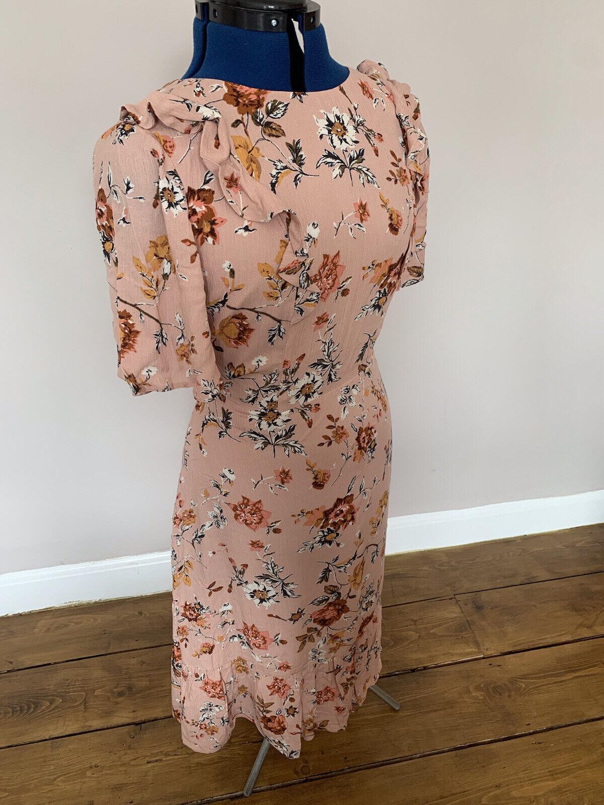 *Laura Ashley* Vintage Pink Light Summer Cotton Floral Dress Size 12