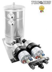 Twin-Bosch-044-Fuel-Pumps-Aluminium-Surge-Swirl-Pot-Tank-Assembly-AN8-AN10-BLACK