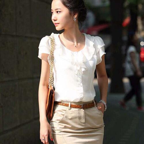 Elegant Women Summer Chiffon Blouse Plus Size Short Sleeve Office OL Top Shi JP
