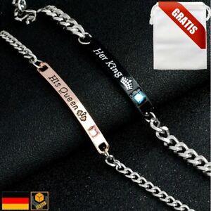 Her-King-His-Queen-Partner-Armband-Liebe-Kette-Gravur-Geschenkbeutel