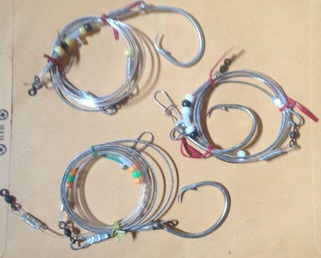 (3) Shark Rig, Fish Finder Bottom Rigs 20/0 Hook 6 Ft ...
