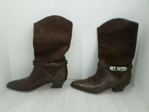 Via-Spiga-Women-039-s-Brown-Leather-Suede-Western-Boots-Sz-8-5-155