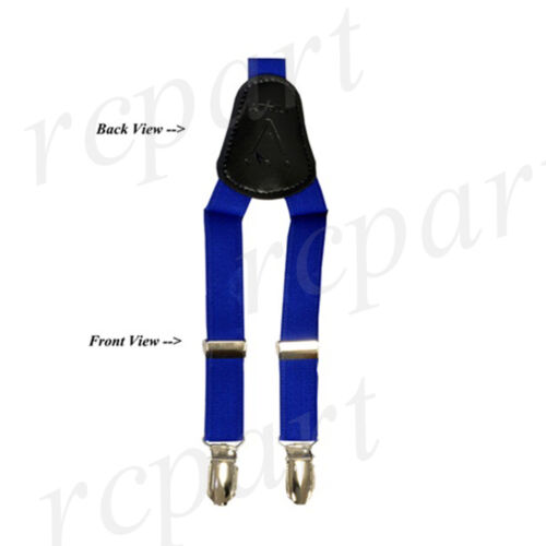 New Y back Kid/'s Boy/'s Suspender adjustable strap clip on /& bowtie Royal blue
