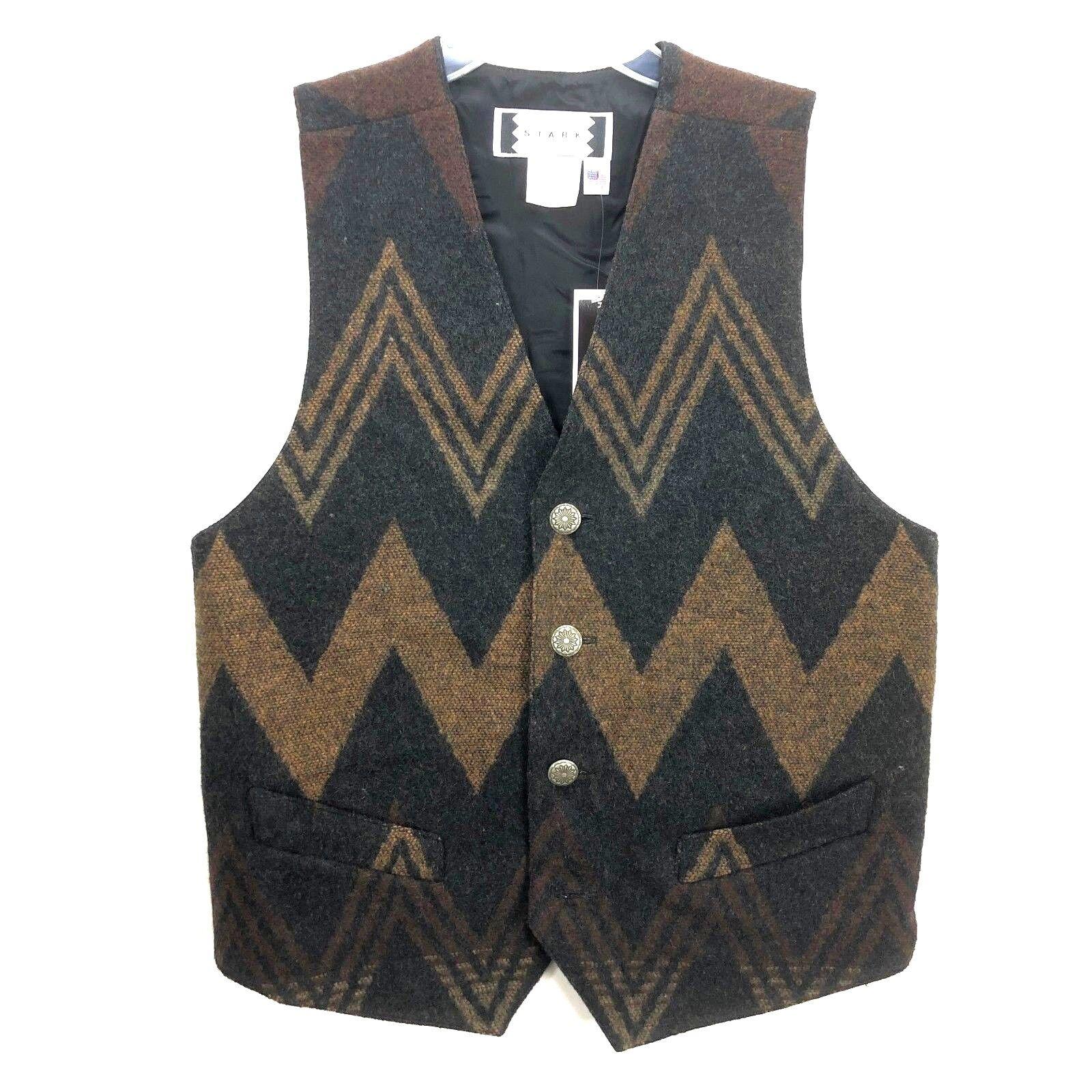 Rare NWT Vtg NOS STARK  Herren Vest Small SW Lined Southwest WIGWAM Wool MSRP 165