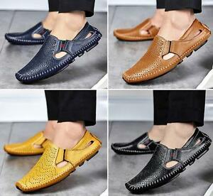 bd573cfbfd9aa Details about New Men Driving Slip on Loafers Leather Shoes Summer  Breathable Mesh Shoes