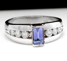 1.00 Carat NATURAL TANZANITE and DIAMOND 14K Solid White Gold Ring