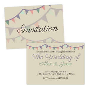Personalised-day-evening-wedding-invitations-PASTEL-BUNTING-VINTAGE-FREE-ENVELOP