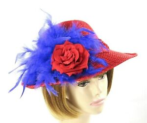 7e02934c241 Image is loading Red-Fedora-Church-Dress-Derby-Hat-Chandelle-Feathers-