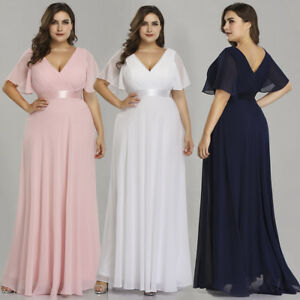 Details about Ever-pretty US Plus Size Chiffon V-neck Bridesmaid Long  Dresses Pink Gowns 09890