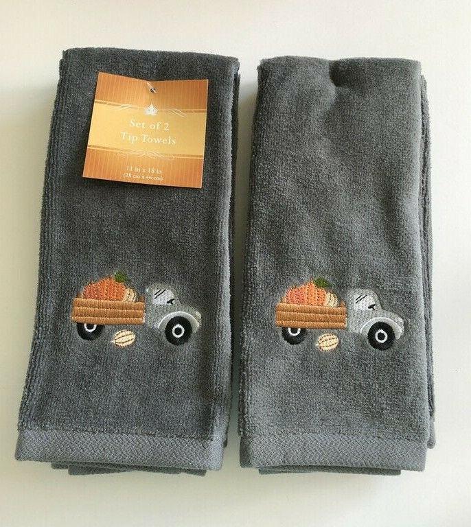 Thanksgiving Fingertip Towels Farm Truck Pumpkin Embroidered Set of 2 Guest Gray