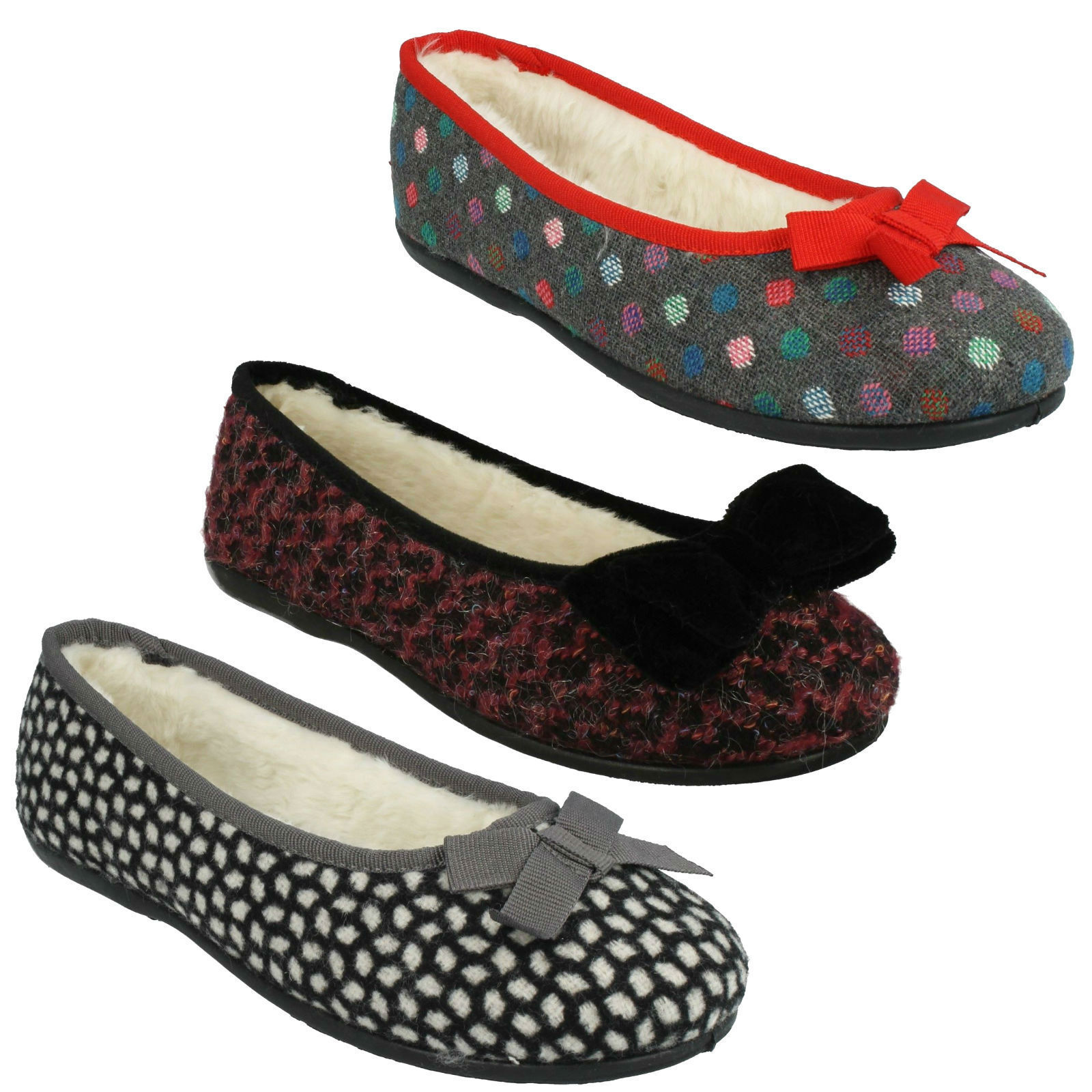 LADIES CLARKS BOW FAUX FUR BALLERINA WIDE WARM FLAT SLIPPERS SHOES ADELLA ANGEL