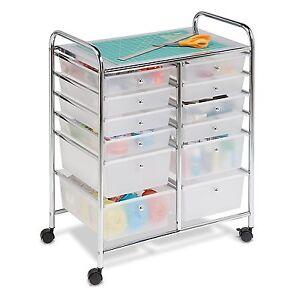 Honey-Can-Do-CRT-01683-12-Drawer-Chrome-Studio-Organizer-Cart-New