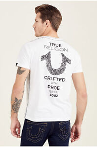True-Religion-Herren-Shoestring-Hufeisen-Logo-Tee-T-Shirt-in-weiss