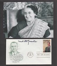 Indira Gandhi Autograph , Original Hand Signed Lyndon Johnson FDC