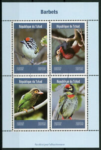 Chad-2019-CTO-barbets-BARBONE-4v-M-S-birds-stamps