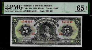 Mexico-5-Pesos-1970-PMG-65-EPQ-UNC-Pick-60k-Series-BIG