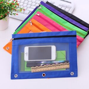 Zippered-Binder-Pencil-Pouch-with-Rivet-Enforced-Hole-School-Pencil-Case-3-Ring
