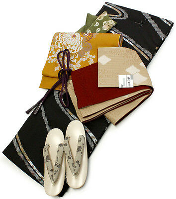 Japanese Lined Kimono Dress Traditional Obi 6item Set Flowing Water