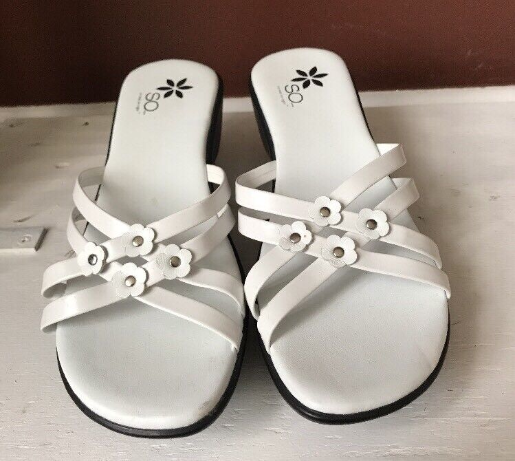 Women's SO SoReal/SoRight Leda White Size 7.5 M Sandal Strappy Wedge Slide Shoes Sandal M 8a6f4d