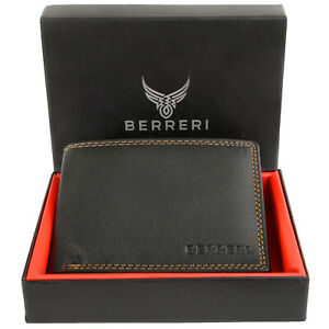 Mens Genuine Leather High Quality Wallet RFID Safe Card Holder Gift Box UK Stock