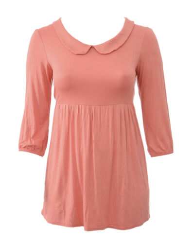 Womens Size 14 16 New Orange Coral Collar Tunic Top Dress Ladies *LICK*