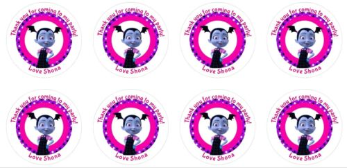 24 x 4cm Personalised Stickers Round Vampirina Colourful Party Labels