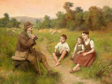 Large Oil painting shepherd playing flute with children in landscape no framed