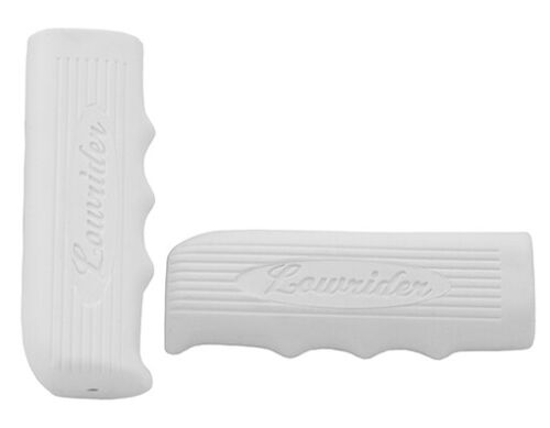 """Vintage Bicycle Handle Bar Grips White Kraton Rubber with /"""" Lowrider /"""" Logo Bike"""