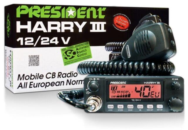 Le président Harry Iii Asc Radio CB 27 MHz AM/FM 40 canaux 12/24 V