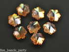 10pcs 14mm Snowflake Loose Faceted Crystal Glass Pendant Craft Beads Gold Rose