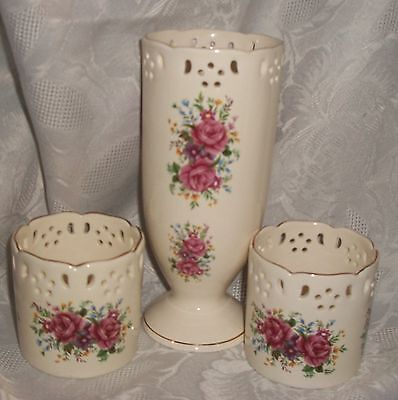 3 PC SET OF FORMALITIES BY BRAUM BROS. VASE AND CANDLE HOLDERS WITH ROSE PRINT