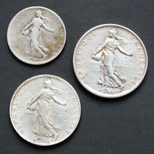 Lot-de-3-pieces-francaises-en-argent-1-Franc-2-Francs-et-5-Francs-Semeuse