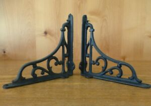 Antiques 6 MEDIUM ESPRESSO BROWN HEAVY DUTY 7X7 SHELF BRACKETS CAST IRON rustic SCROLL
