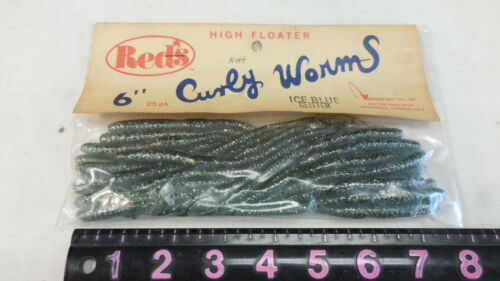 """-ICE BLUE GLITTER  CURLEY WORMS VINTAGE RED/'S SWINGER TAIL 6/""""  WORMS"""