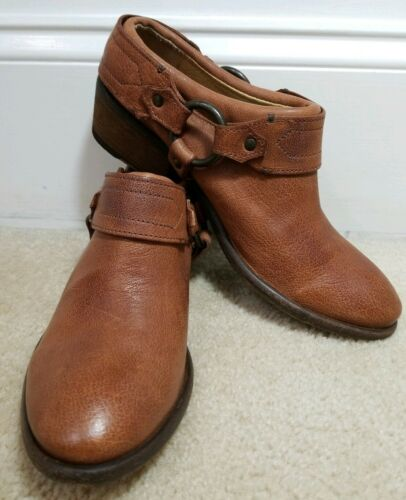 FRYE Ankle Boot Harness Cognac Leather Mule Clog C