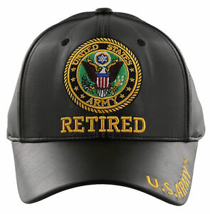 4af161b9dfa57e Image is loading NEW-US-ARMY-RETIRED-FAUX-LEATHER-BALL-CAP-